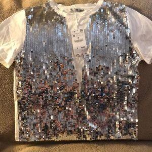 Brand New Zara White-Siver Sequence Vest Shirt
